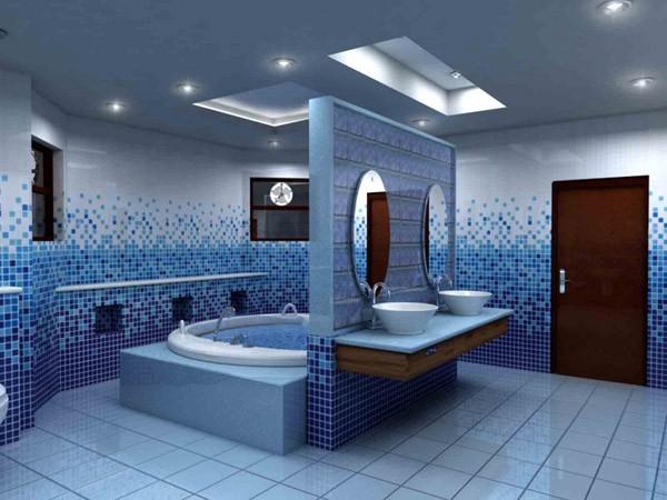 Vách ngăn thạch cao cho phòng tắm có họa tiết trông cực sang trọng