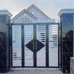 Mẫu cổng sắt hộp 4 cánh đẹp, hiện đại, đơn giản